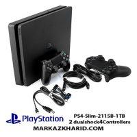 کنسول بازی پلی استیشن ۴ اسلیم ۱ ترابایت ریجن ۱ با دو دسته بازی Playstation 4 Slim R1 1T 2115B 2 Dualshock 4 Controller