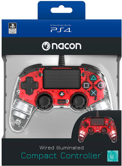 دسته بازی PlayStation Nacon Compact Controller Wired ILLuminated Red