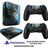 برچسب پلی استیشن 4 اسلیم Playstation 4 Slim Console and Controller Skin Sticker God OF War 4 Boat