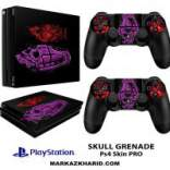 برچسب پلی استیشن 4 پرو Playstation 4 Pro Console and Controller Skin Sticker Skull Grenade