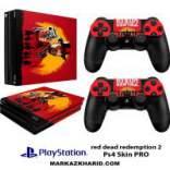برچسب پلی استیشن 4 Playstation 4 Pro Console and Controller Skin Sticker Red Dead Redemption 2