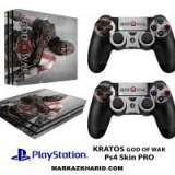 برچسب پلی استیشن 4 پرو Playstation 4 Pro Console and Controller Skin Sticker Kratos God of War