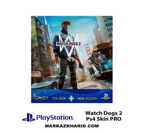 برچسب پلی استیشن 4 پرو Playstation 4 Pro Console and Controller Skin Sticker Watch Dogs 2