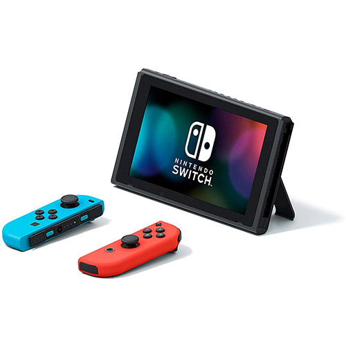 Nintendo Switch with Neon Blue and Neon Red Joy Con