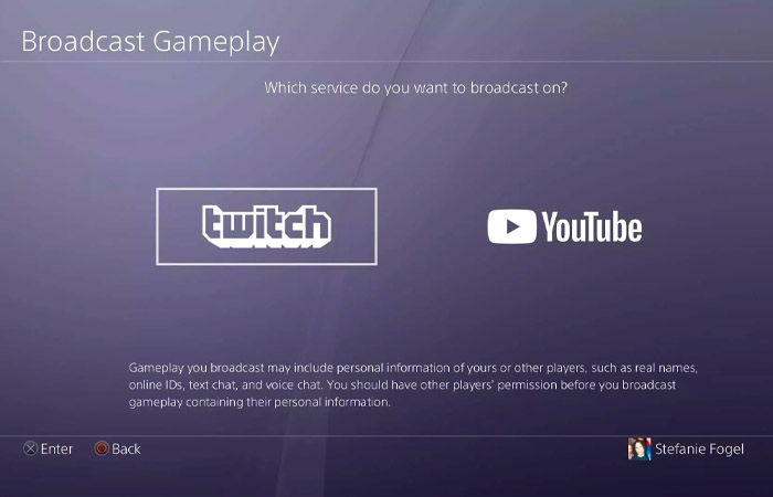 انتخاب سرویس استریم در PS4