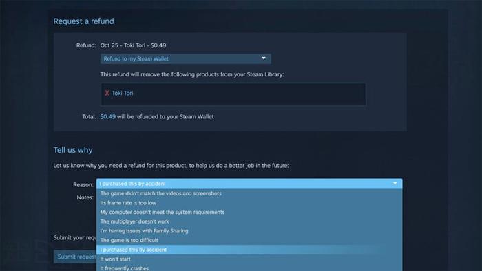 بازپرداخت بازی در Steam