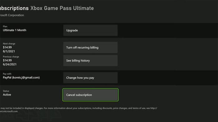 لغو اشتراک Game Pass